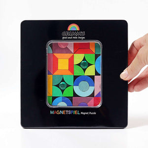 GRIMM'S Magnet Puzzle Triangle, Square, Circle with Sparkling Parts