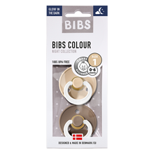 Load image into Gallery viewer, BIBS 2-Pack Colour Pacifier (Night Collection) - Vanilla Glow & Dark Oak Glow