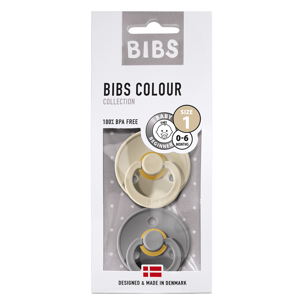 BIBS 2-Pack Colour Pacifier - Sand & Smoke