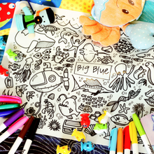 Load image into Gallery viewer, DRAWNBY: Big Blue Colouring Mat with Markers