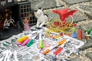 DRAWNBY: Castles & Dragons Colouring Mat with Markers