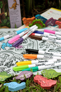 DRAWNBY: Dino World Colouring Mat with Markers
