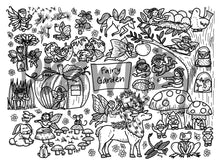 Load image into Gallery viewer, DRAWNBY: Fairy Garden Colouring Mat with Markers
