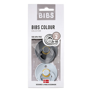 BIBS 2-Pack Colour Pacifier - Iron & Baby Blue