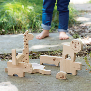 PETIT COLLAGE Safari Wood Puzzle & Play Set