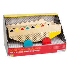Load image into Gallery viewer, PETIT COLLAGE Alligator Wood Shape Sorter & Pull Toy