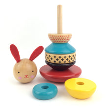 Load image into Gallery viewer, PETIT COLLAGE Modern Bunny Wood Stacking Toy