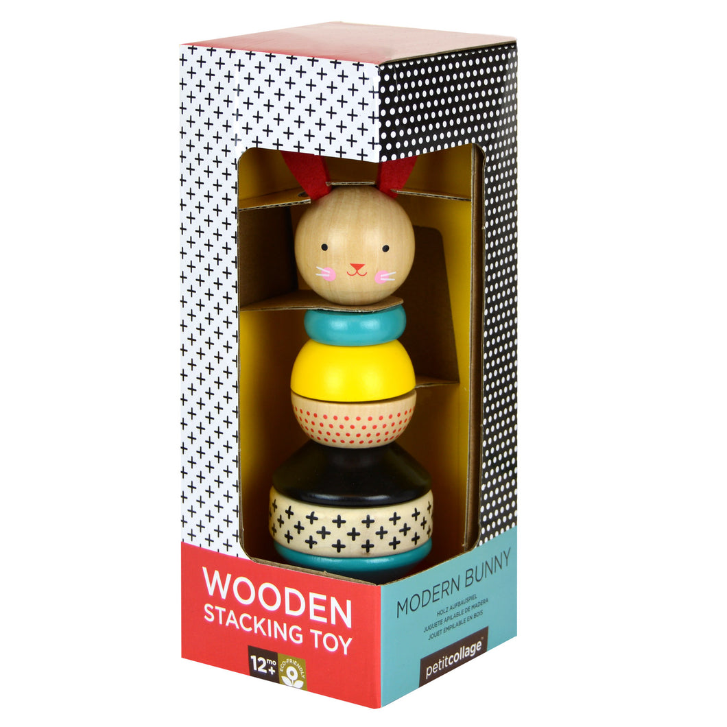 PETIT COLLAGE Modern Bunny Wood Stacking Toy