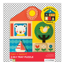 Load image into Gallery viewer, PETIT COLLAGE Day & Night Two-Sided Wood Tray Puzzle
