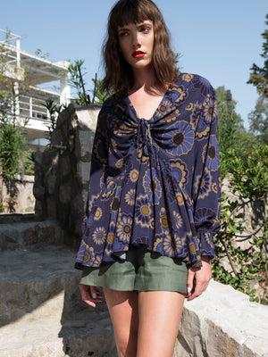 Navy Floral Ruffled Blouse