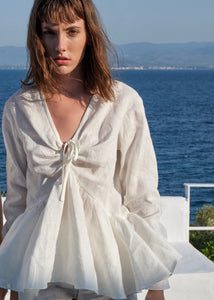 Linen Ruffled Blouse | White