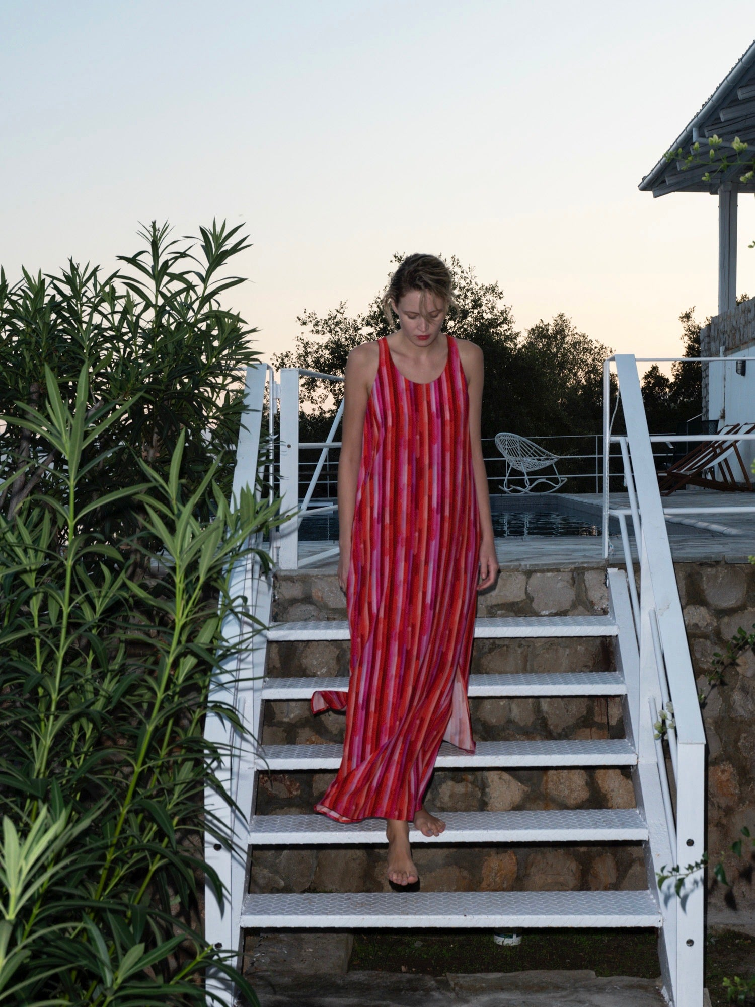 Cherry Stripe Maxi Dress
