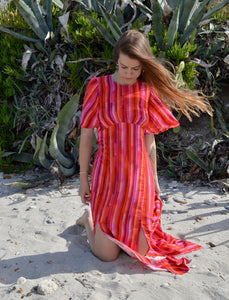 Slit Dress - Cherry Stripe