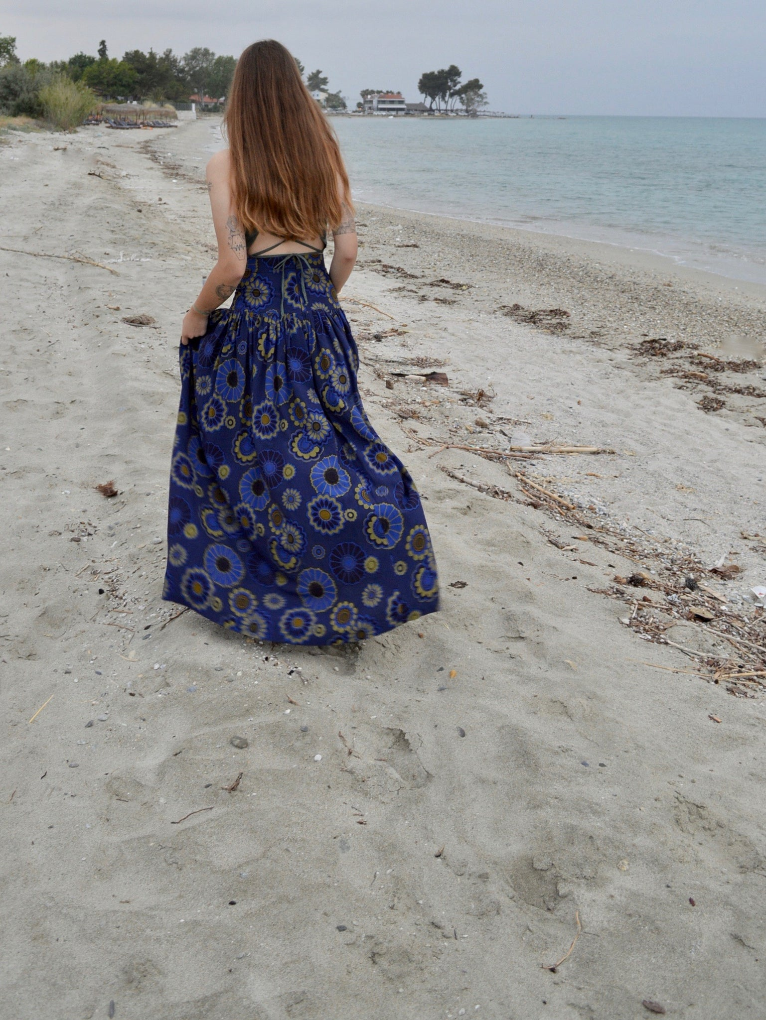 Maxi Pleated Skirt | Navy Floral