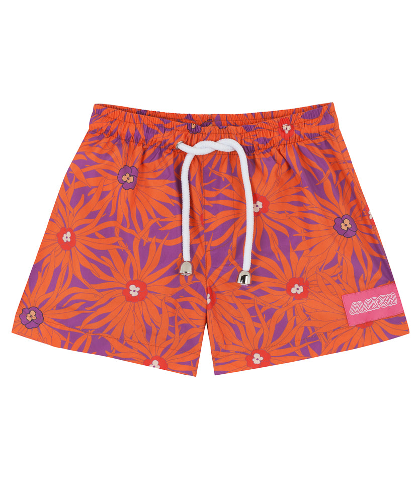 Floral Orange Mini Boys Swimsuit