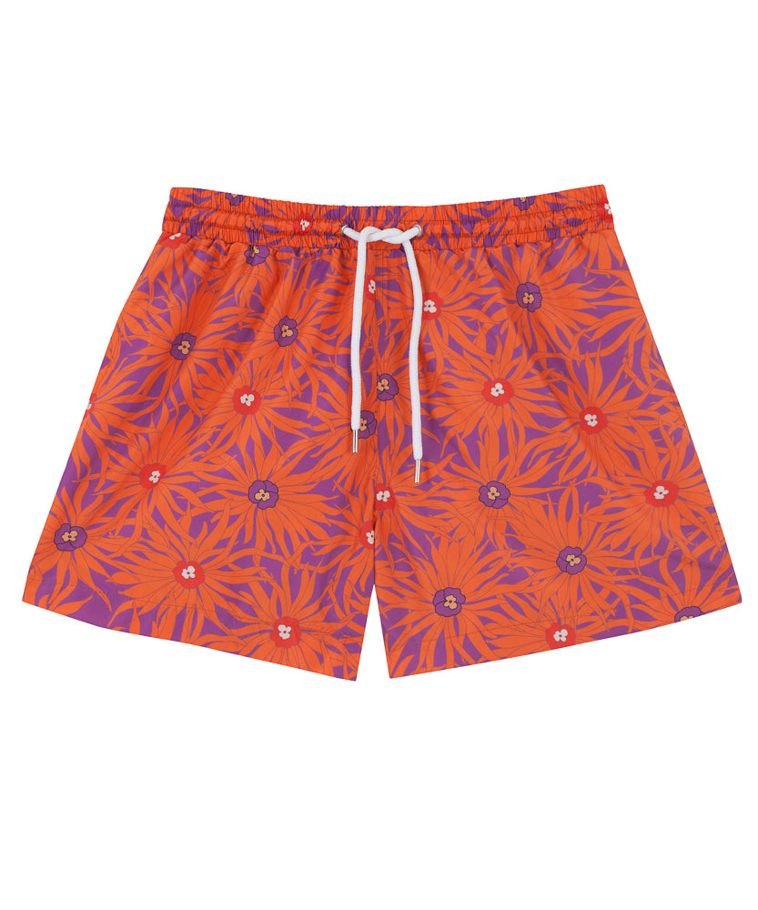 Mens Floral Orange Swim Shorts