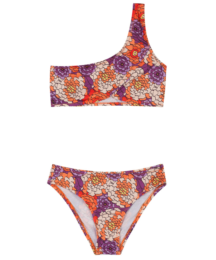 Kids One-Shoulder Bikini | Floral Mosaic