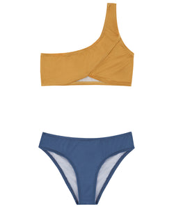 Kids One-Shoulder Bikini | Blue-Gold