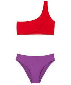 Kids One-Shoulder Bikini | Red-Purple