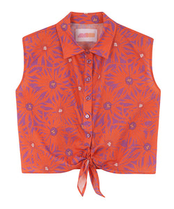 Cotton Knotted Shirt | Floral Orange