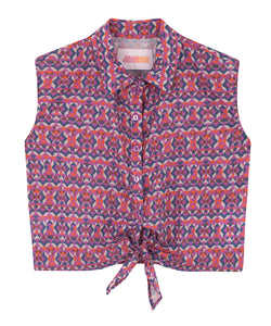Cotton Knotted Shirt | Geo Purple