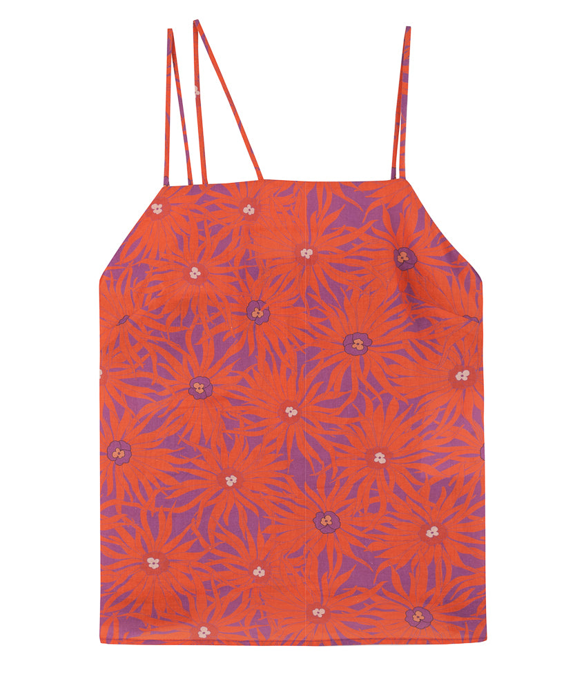 Print Slip Top | Floral Orange