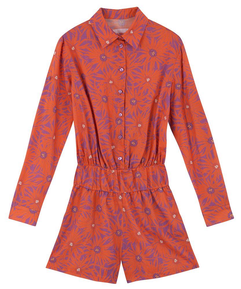 Chiara Playsuit | Floral Orange