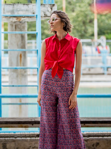 Cotton Wide-Leg Pants | Geo Purple