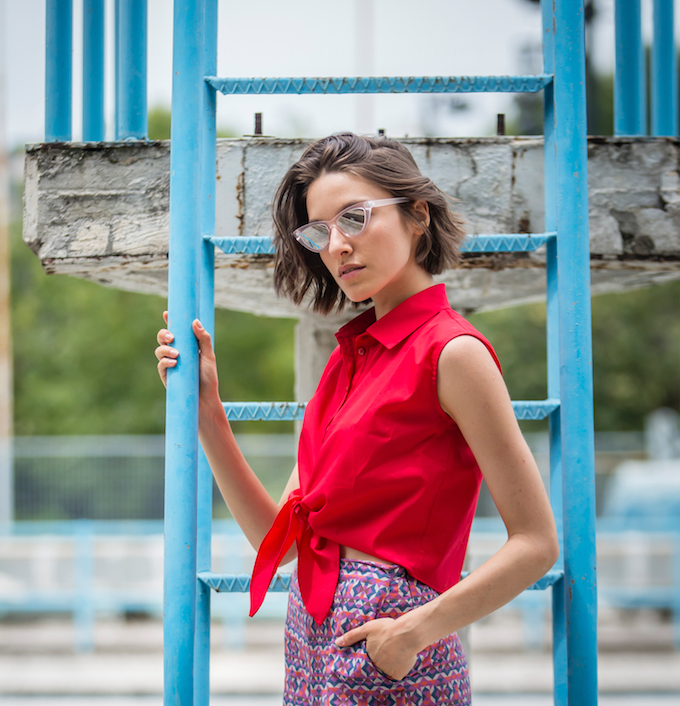 Cotton Knotted Shirt | Red