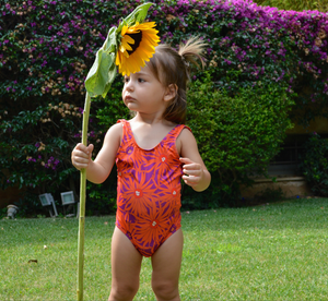 Kids Open-Back Onepiece | Floral Orange