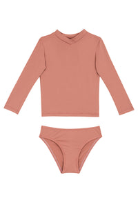 Kids Monica Long-Sleeve Bikini | Dusted Pink