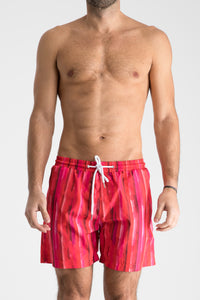 Men's Swim Shorts | Cherry Stripe