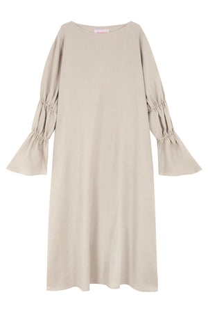 Linen Dress with Puff Sleeves