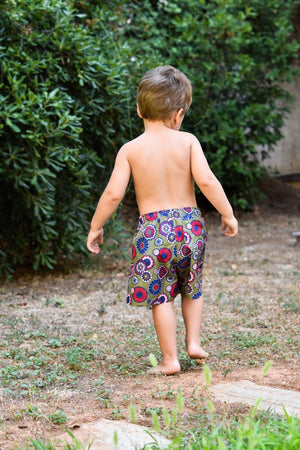 Kids Swim Shorts | Khaki Floral