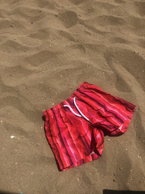 Kids Swim Shorts | Cherry Stripe