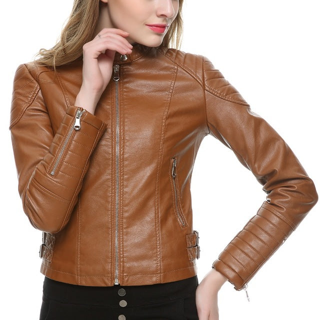 2018 Brown Black Leather Jacket for women