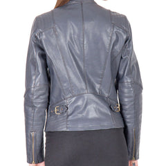 A light blue  fashion leather jacket for women