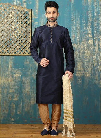 Blue And Golden Sherwani For Men