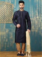 Amazing Blue And Golden Sherwani For Men