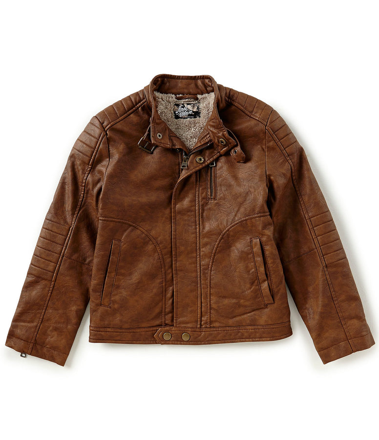 Amazing Brown Leather Jacket For Kids