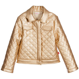 Amazing Girls Gold Leather Jacket
