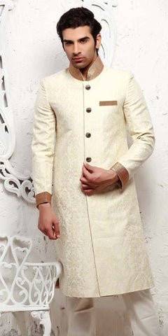 Fasionable White Sherwani For Men