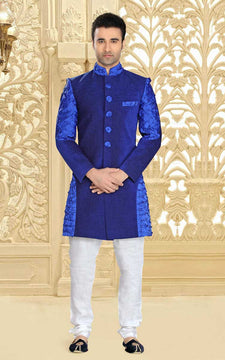 Astonishing Blue & White Sherwani For Men
