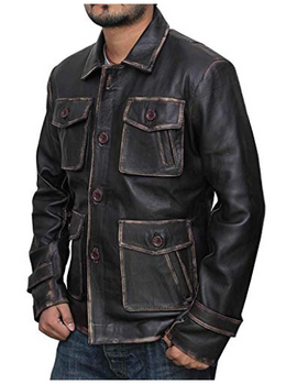 Atlanta Rough Four Button Pockets Man Distressed Brown Leather Jacket