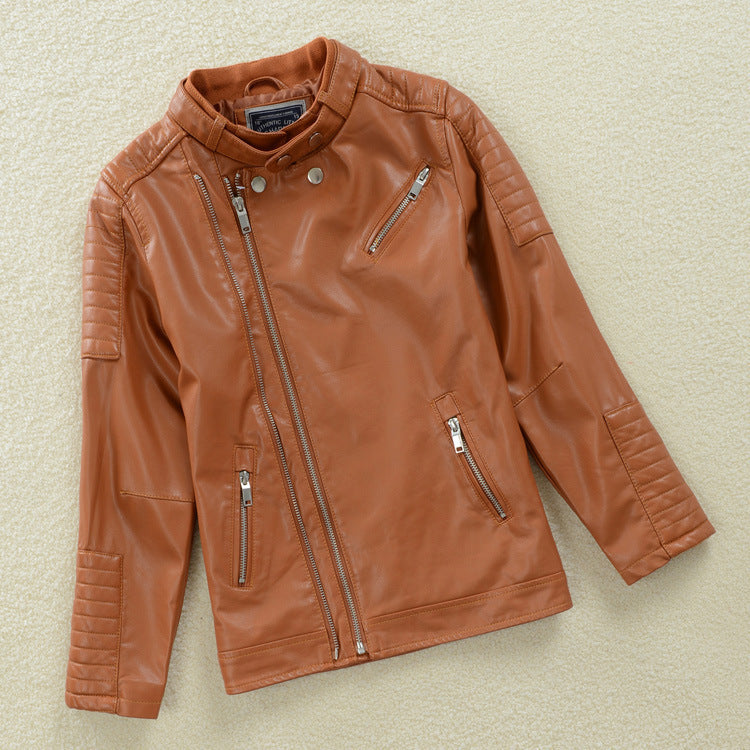 Awesome Brown Leather Jacket For Kids