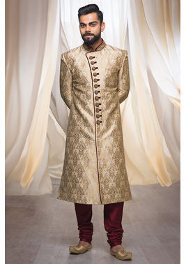 Stunning Gold Sherwani For Men