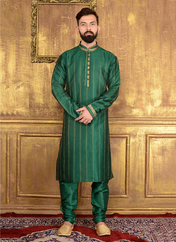 A Beautiful Green Wedding Sherwani For Men