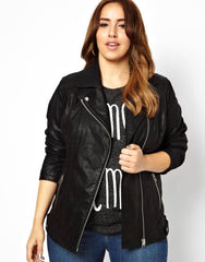 Be fashion  with plus size leather jacket
