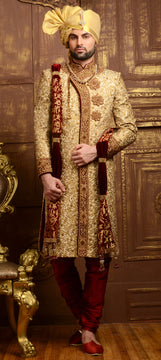 Beige and Brown Wedding Sherwani