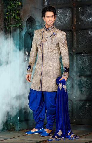 A glamorous silk sherwani for Indian Wedding